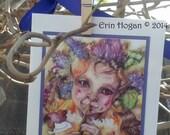 Flower flute fairy child handmade Spring greeting card