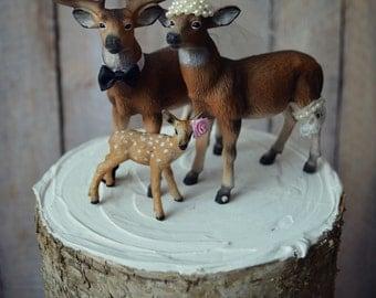 Camouflage- wedding-family-doe buck fawn-Mr and Mrs-deer-hunter- cake topper-deer lover-bride and groom-rustic wedding-camouflage-elk-deer