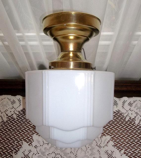 Antique Art Deco Skyscraper Ceiling Light Fixture By