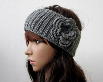 hand knit headband crochet flower headwrap ear warmer hat grey crocheted flower romantic