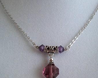 Swarovski Crystal Amethyst Pendant Necklace