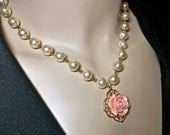 Gold Pearl necklace - Vintage pearls -  Rose Cabochon - Pendant - Victorian inspired- Wedding Jewelry -