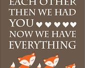 Orange and Brown Fox Nursery Art,  Woodland Nursery Decor - 8x10