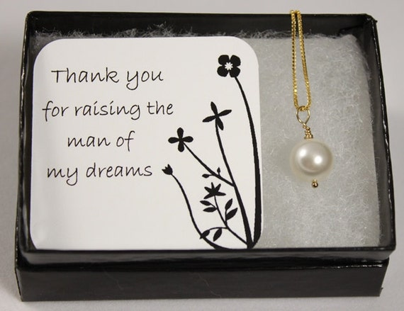 Mother Of The Groom Gift: Mother Of The Groom Gift Swarovski Pearl Gold Necklace