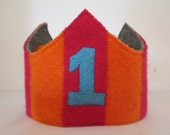 Reversible Waldorf 1st Birthday Crown Recycled Wool Sweater Vintage Circus Elephant Applique