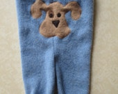 Recycled Wool Sweater Pants Longies with Puppy Dog Applique Cloth Diaper Cover