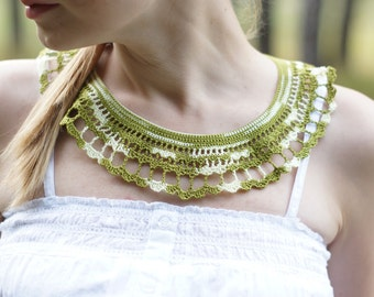 Green white Lace Collar Necklace Irish Style military