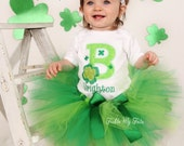 Shamrock Initial St. Patrick's Day Tutu Outfit Any Letter or Number, My First St. Patrick's Day Pageant Tutu Set *Bow NOT Included*