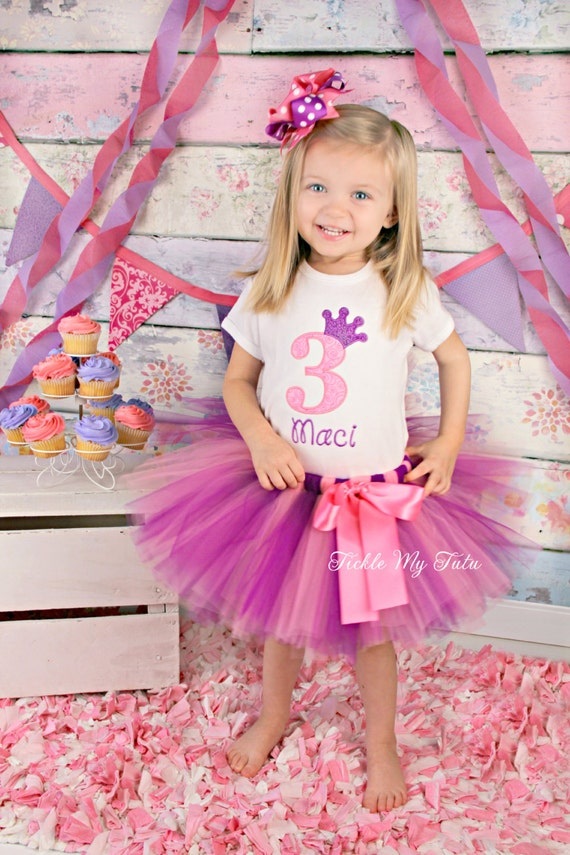 Pink and Purple Number Crown Birthday Tutu Outfit-Pink and Purple Princess Birthday Party Outfit-Pink and Purple Party *Bow NOT Included*
