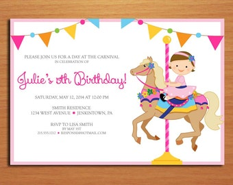 Carnival / Carousel Customized Printable Birthday Party Invitation Cards DIY