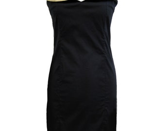 Little Black Dress, Black and Gold, Plus Size Dress, Party Black Dress, Cotton Dress, Prom Dress, Sliming Dress