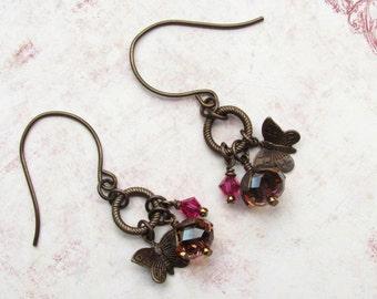 Butterfly Earrings, Swarovski Earrings, Vintaj Earrings, Autumn Earrings, Hoop Earrings, Dangle Earrings, Pink Earrings, Butterfly Jewelry