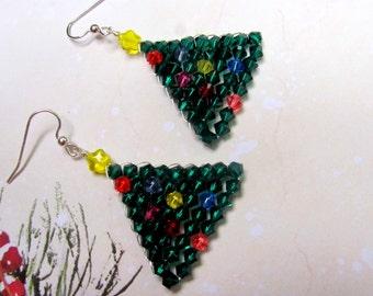 Woven Christmas Tree Earrings, Swarovski Earrings, Christmas Earrings, Tree Earrings, Holiday Earrings, Dangle Earrings, Christmas Jewelry