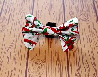 Holiday Dog Bow Tie Pet Collar Accessory Holly Berries