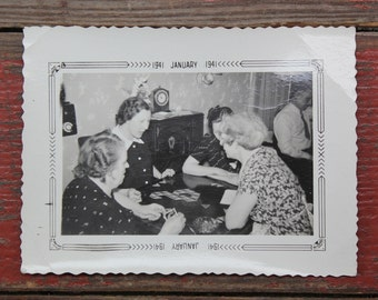 "Vintage Photo ""Ladies Game Night"", Photography, Paper Ephemera, Snapshot, Old Photo, Collectibles 1380"