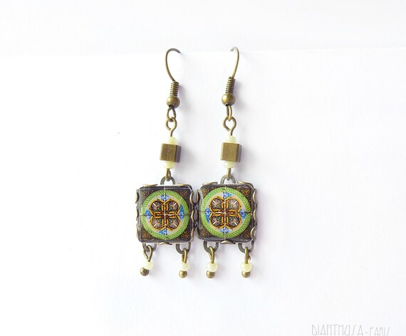 French tiles Earrings with vintage drawings  Black, white, yellow and blue floral and  medieval drawings