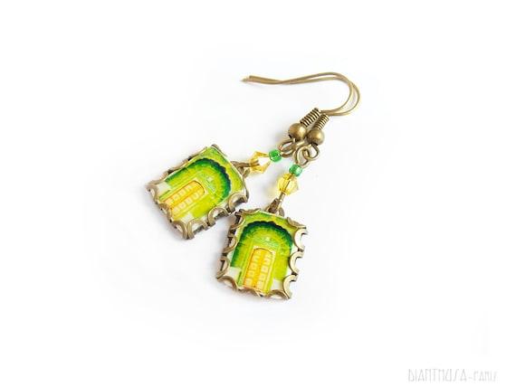 Green Indian doorway  Open your life Travel earrings