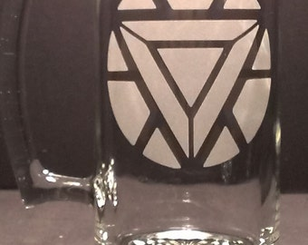"""Ironman logo   """"PICK YOUR GLASS"""" etched Glass"""
