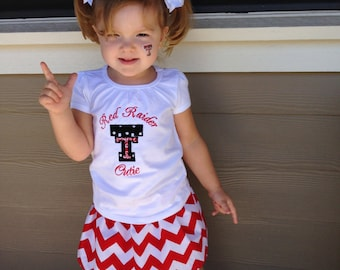 Texas Tech Outift, Red Raider Cutie Tee with Red Chevron Skirt, Toddler Girls Outfit, Twirl Skirt