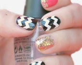 NAILED IT DECALS: 1 Sheet of 44 Chevron Nail Decals (You Pick the Color)