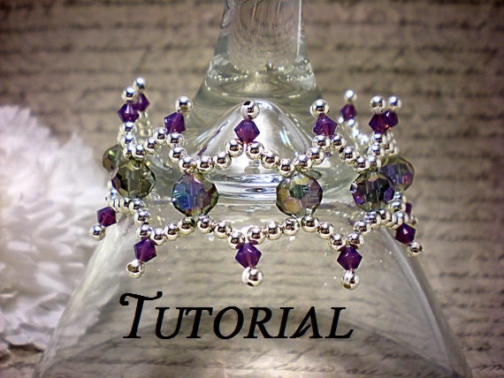 Tutorial PDF Sterling Silver and Swarovski Crystal Right Angle Weave Lacey Bracelet, Instant Download