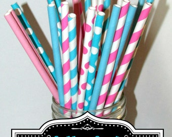 Pink, Turquoise, paper straws, Cotton candy inspired paper straw set