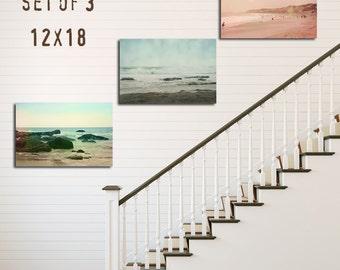 Beach House Decor, Beach Seascape Decor, Tryptic, Set of 3, 8x12 10x15 12x18 16x24, Nautical Decor, California Coastal Decor