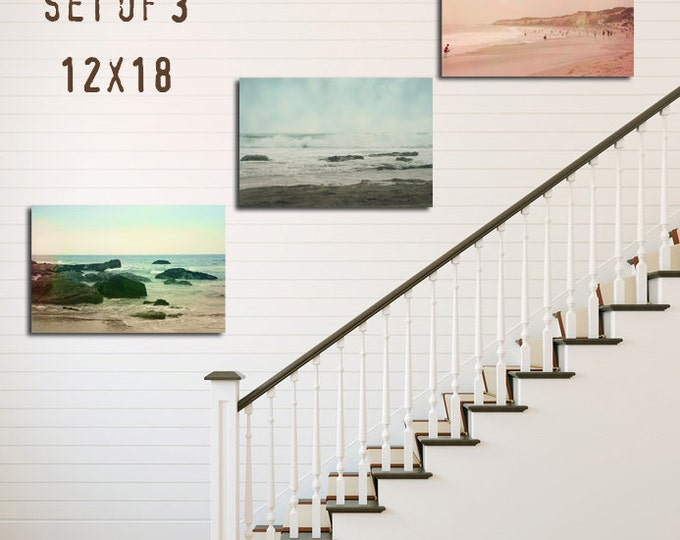 Beach House Decor, Beach Seascape Decor, Tryptic, Set of 3, 8x12 10x15 12x18 16x24, Nautical Decor, California Coastal Decor