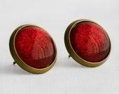 Ruby Slippers Post Earrings in Antique Bronze - Red Glitter Glittery Dorothy Earrings