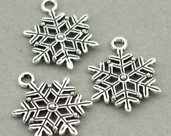 Snowflake Charms Antique Silver 6pcs base metal beads 17X22mm CM0550S