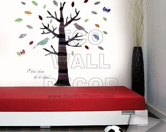 PEEL and STICK Removable Vinyl Wall Sticker Mural Decal Art - Colorful Pattern Tree and Birds