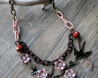 Black Bird Necklace with Dusty Pink Roses, Bib-style Necklace