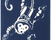 Monkeynaut Blue - Linocut (Woodcut ish) Print Space Astronaut Monkey Zero Grav Print 3 of 50