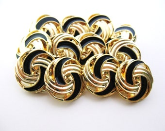 Black and Gold buttons - Twist - Set of Twelve