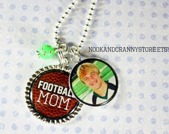 Football Mom 2 pendant personalized photo necklace female male athlete b ball gym coach high school team teammate player mother gift present