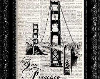 Golden Gate  San Francisco Bridge Print -  Vintage Dictionary Print Vintage Book Print Page Art  Vintage Book Art