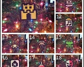 Single Nintendo Super Mario Bros Perler Bead Christmas Ornaments - star mushroom leaf hammer shyguy bullet bill card game music box 1up frog