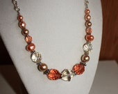 Peaches and Cream Czech Glass Beads Necklace - Mother's Day, Wedding Jewelry