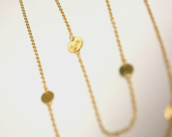 Mini Gold Disc Necklace Extra Long Layering Necklace