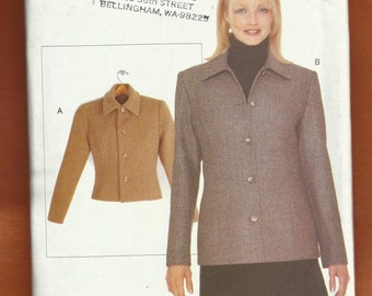 Vogue 9521 Semi Fitted Princess Seam Petite Jacket with Tapered Sleeves & Full Front Buttons Sizes 6 to 22 UNCUT