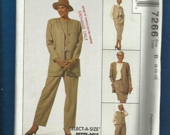 McCalls 7266 Easy Fitting Wardrobe Jacket Vest Pants & Skirt  Sizes 8-10-12 UNCUT
