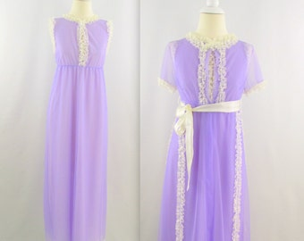 Vintage 1970s Chiffon Nightgown Peignoir Set in Lavender - Small by Designer Claire Haddad