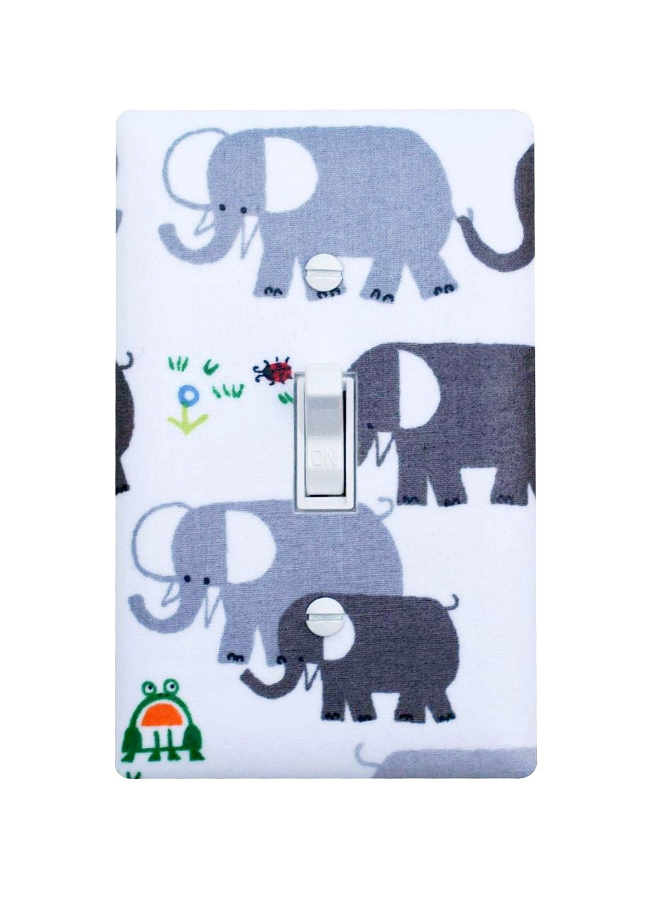 Elephant Light Switch Plate Cover Gray Baby Boy Nursery