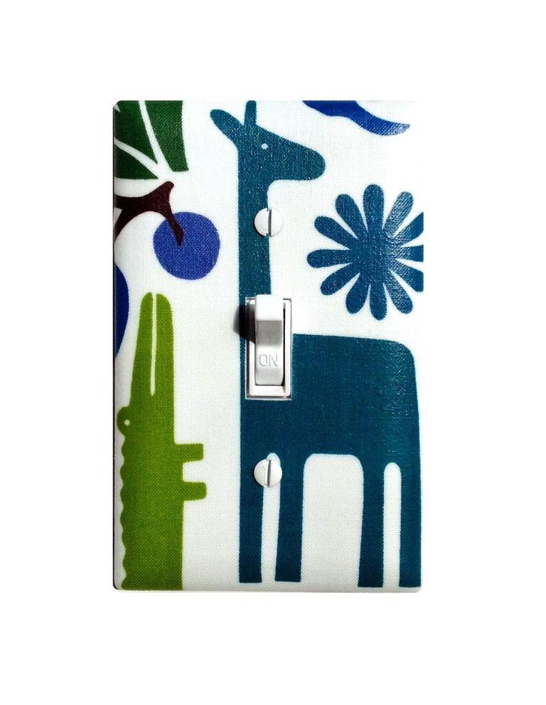 Giraffe light switch plate baby boy nursery decor bathroom for Zoo bathroom decor