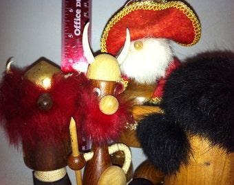 Vintage 4 Wooden Viking Dolls Humorous Souvenir collection FREE SHIPPING