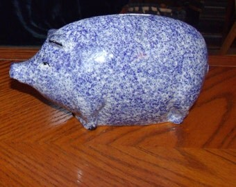 Piggy Bank, Enesco Sponge Wear Blue Pig Figurine, Piggy splatter porcelain figurine, Blue Enesco Piggy....