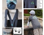 Happily Ever After Custom Ring Bearer Set, YOU pick fabric colors Ring Pillow Bow Tie Suspenders and RehearsalShirt by Messy Kids Designs
