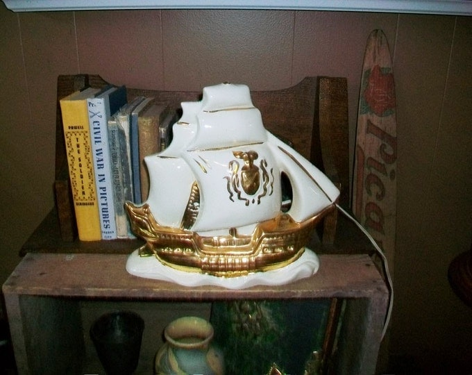 Vintage 50s TV Lamp Sailing Ship White w/ Gold Trim by Lampcrafts