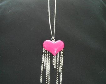 Pink heart chain fringe silver necklace