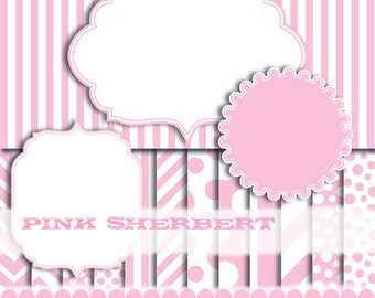 Pink Digital paper frame baby pink chevron photo circle digital frames clip art girl stripe : p0176 3s3750